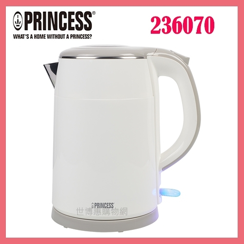 可刷卡◆PRINCESS荷蘭公主 1.5L不鏽鋼雙層防燙快煮壺(白) 236070◆台北、新竹實體門市