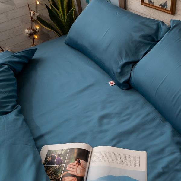 天絲(80支)床組 簡約生活系-普魯士藍 Q1雙人加大床包三件組 100%天絲 專櫃級 台灣製 棉床本舖