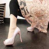 歐洲站夏季細跟超高跟防水台露趾淺口洋裝粉色魚嘴單鞋女【快速出貨八五折】