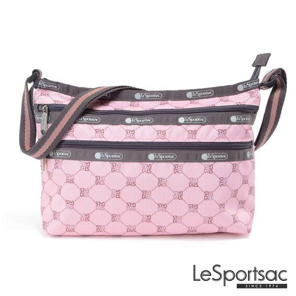 LeSportsac - Standard橫式三層拉鍊斜背包(經典格紋/粉) 3352P F084