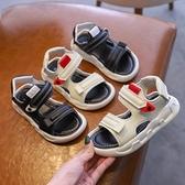 2021夏季兒童涼鞋防滑中大男童沙灘鞋女童黑色露趾軟底休閒寶寶鞋 童趣屋