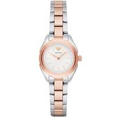 【台南 時代鐘錶 Emporio Armani】亞曼尼 AR11029 都會簡約 鋼錶帶女錶 白/玫瑰金 32mm