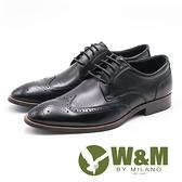 【南紡購物中心】W&M 壓紋紳士綁帶男皮鞋-黑