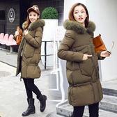 羽絨外套 中長款-韓版連帽修身顯瘦女夾克3色73it182[時尚巴黎]