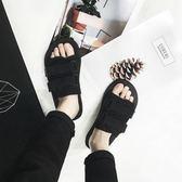 港風夏季新款透氣帆布涼鞋男女韓版一字拖防滑拖鞋情侶百搭沙灘鞋   麥吉良品