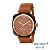 BRISTON 方糖錶 焦糖色 金框 前衛設計 時尚帆布錶帶 男女 生日情人節禮物