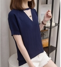 短袖上衣大碼T恤V領上衣中大尺碼寬鬆上衣XL-4XL韓系彈性休閒衫R26.2020
