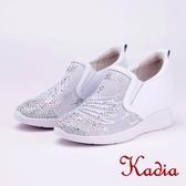 kadia.優雅天鵝鑽飾內增高休閒鞋(9010-10白色)