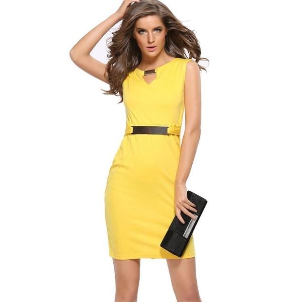 無袖洋裝 2019Ebay速賣通熱賣金屬扣小V領打底裙修身氣質鉛筆裙 大碼連衣裙
