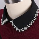 假領子-珍珠鑲邊水鑽蕾絲女襯衫領片2色73va26【巴黎精品】