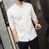 夏季襯衫男 短袖韓版修身潮流立領7分襯衣帥氣純白色 休閒男士中袖