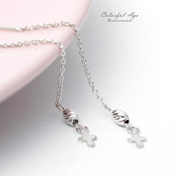 銀飾 十字架垂墜耳針純銀耳環NPD123