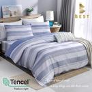 【BEST寢飾】天絲床包兩用被四件式 雙人5x6.2尺 藍諾 100%頂級天絲 萊賽爾 附正天絲吊牌