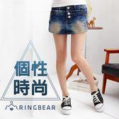 褲裙--時尚層次感鑽釦斜拉鍊裝飾設計氣質纖細顯瘦牛仔褲裙(S-7L)-R107眼圈熊中大尺碼