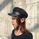 黑色羊毛呢海軍帽子女韓版潮牌時尚歐美街頭英倫百搭秋冬季貝雷帽  電購3C