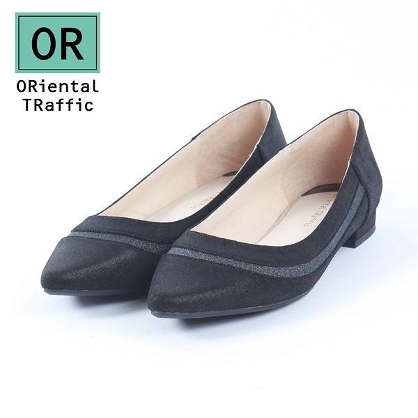 【ORiental TRaffic】金蔥異材拼接造型平底鞋 - 百搭黑