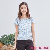 Red House 蕾赫斯-圓點花朵上衣(淺藍色)
