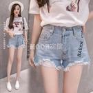 夏季牛仔短褲女最新款高腰學生韓版寬鬆闊腿破洞毛邊熱褲子潮 快速出貨