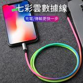 傳輸線 Lightning TypeC Micro 彩虹 編織 彎頭 鋁合金 金屬 數據線 USB 1米 快充 閃充 充電線 布藝 iPhone