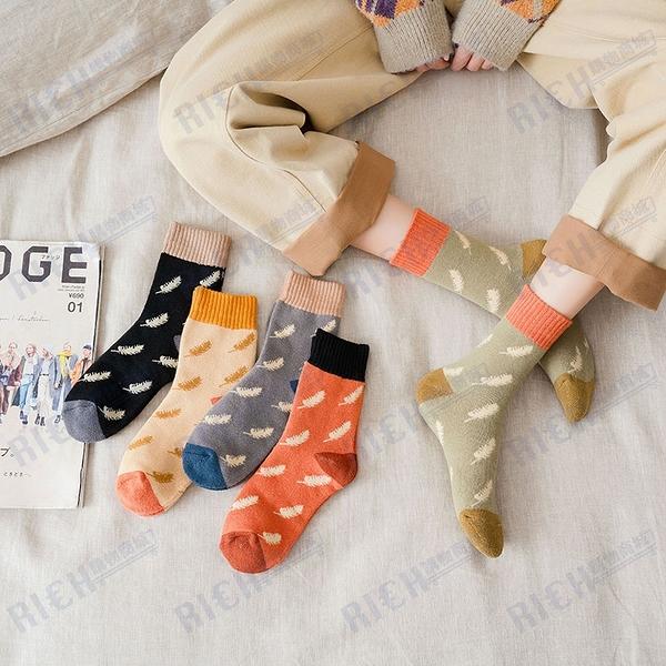 日系秋冬加厚毛圈毛巾底保暖中筒襪落葉森系文藝少女棉襪子