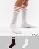 【蟹老闆】ADIDAS 中筒襪兩入組 酒紅+白粉