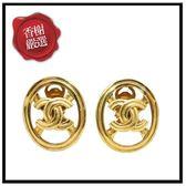 CHANEL金屬大圓雙C夾式耳環二手商品