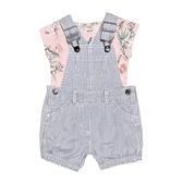 【北投之家】女寶寶吊帶褲套裝 牛仔吊帶短褲+短袖T恤 二件組 藍直條 | Carter s卡特童裝 (嬰幼兒)