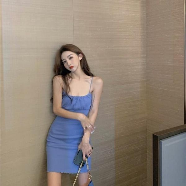 性感吊帶打底洋裝女夏季高腰無袖法式短裙子氣質顯瘦復古一步裙 【端午節特惠】