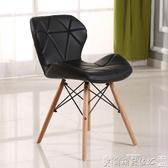 化妝凳 北歐實木網紅餐椅現代簡約家用靠背椅創意休閒化妝凳餐廳書桌椅子 LX爾碩數位