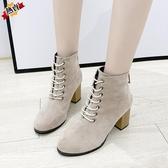 馬丁靴 女靴英倫風秋冬復古圓頭瘦瘦靴高跟顯瘦系帶工裝靴短靴【快速出貨】