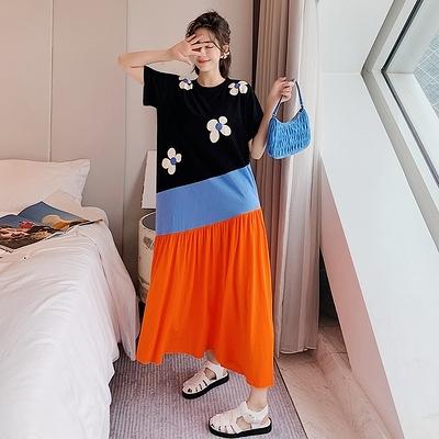 胖妹妹大碼洋裝連身裙~6271長款大碼不規則拼接度假短袖連身裙DC109胖妹大碼女裝
