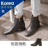 靴.伸方頭馬甲低跟襪靴(黑)-大尺碼-FM時尚美鞋-韓國精選.&ME