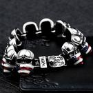 《 QBOX 》FASHION 飾品【B10BC8-025】精緻龐克風美國星旗骷顱頭鑄造鈦鋼手鍊/手環(限量收藏)