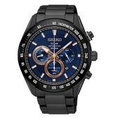 SEIKO 精工Criteria 太陽能 競速賽車三眼計時運動錶-黑/43.6mm/SSC589P1/V175-0EG0B