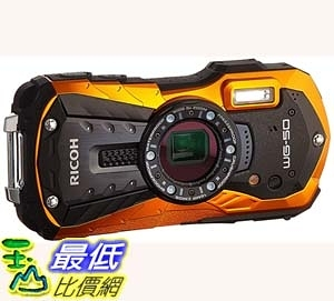 [7美國直購] Ricoh WG-50 16MP Waterproof Still/Video Camera Digital with 2.7吋 LCD, (Orange)