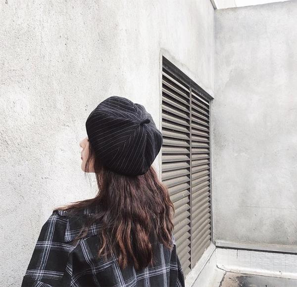 貝雷帽女英倫日系百搭秋報童八角畫家帽條紋【聚寶屋】