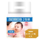 嬌生嬰兒 護膚柔濕巾-無香低敏感 (80片x2包裝X6入)=共12入(箱購)│飲食生活家