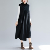 黑色不對稱高領洋裝連身裙女秋冬新款復古拼接立體口袋無袖加厚背心裙 週年慶降價