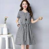 短袖洋裝夏裝新款文藝風大碼女裝格子中長收腰遮肚顯瘦減齡短袖棉麻連身裙新年禮物