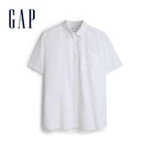 Gap男裝亞麻混紡輕薄短袖襯衫550704-光感白