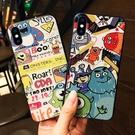 iphonex xs max蘋果手機殼全包防摔浮雕個性創意情侶磨砂軟黑邊卡通 韓慕精品