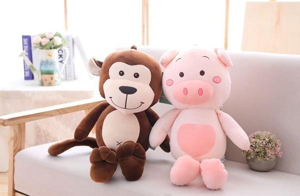【80公分】創意小豬小猴抱枕 布偶 絨毛娃娃 聖誕節交換禮物 生日禮物 兒童節禮物 情侶玩偶