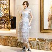 禮服 新款名媛宴會晚禮服網紗亮片蛋糕很仙的連衣裙長裙秋冬