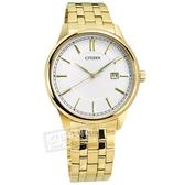 CITIZEN 星辰表 / BI1052-51A / 典雅紳士 礦石強化玻璃 日本機芯 日期 不鏽鋼手錶 銀白x鍍金 40mm
