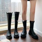 快速出貨馬丁靴女高筒長靴子厚底騎士靴2020早秋款小個子增高