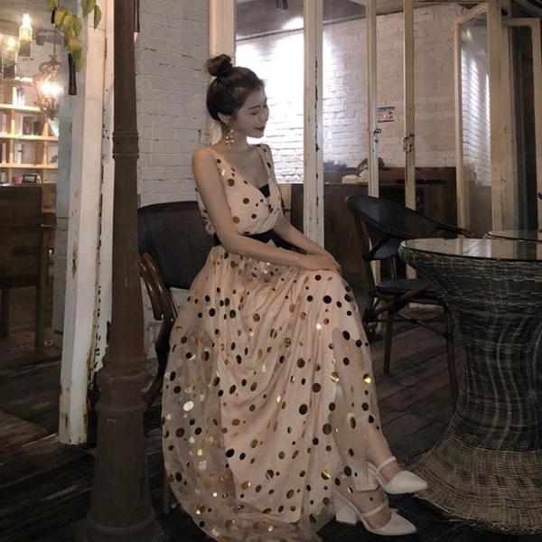 2018夏季新款韓版名媛氣質深V束腰層層網紗亮片禮服裙洋裝長裙