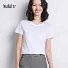 短袖T恤 牧都蘭純棉ins潮短袖女式韓版修身打底圓領T恤2021春夏款純色上衣 寶貝寶貝計畫 上新