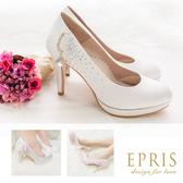 現貨 MIT小中大尺碼新娘婚鞋推薦 星辰女神 真皮腳墊水鑽高跟鞋 20.5-25.5 EPRIS艾佩絲-浪漫白色