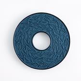 日本南部鐵器【岩鑄】鑄鐵瓶敷 松葉 鑄鐵壺墊-青色 鍋墊 隔熱墊 急須茶壺 生鐵底座