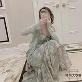 夏季大碼吊帶碎花連身裙子女裝【時尚大衣櫥】
